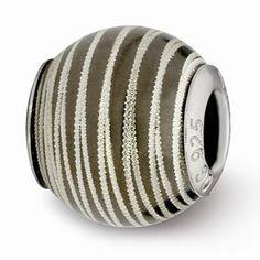 Sterling Silver Grey Laser Cut Bead