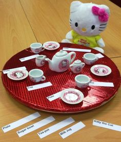 This activity helps children develop literacy and numeracy skills. This tea party can also boost imagination play as well!