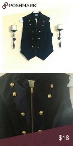 Navy military style vest This cutie is sure to add major style points to your closet! New and never worn, pair with a long sleeve top and skinny jeans for a stylish and on trend look! Jackets & Coats