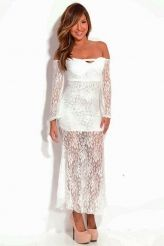 White Strapless Lace Maxi Dress