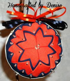 Chicago Bears~ Quilt looking fabric ornaments made by Handcrafted by Denise.