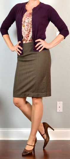 Outfit Posts: outfit post: burgundy cardigan, pink pattern blouse, brown pencil skirt, mary jane pumps