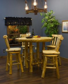 Pine Log Pub Table with matching pine swivel stools by Twist of Nature.- log cabin decor