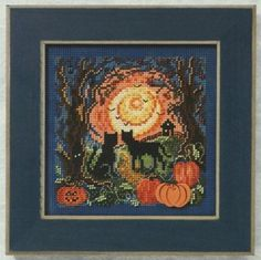 Fall Cross Stitch, Beaded Cross Stitch, Counted Cross Stitch Kits, Cross Stitch Embroidery, Embroidery Patterns, Cross Stitch Patterns, Stitching Patterns, Mill Hill Beads, Halloween Cross Stitches