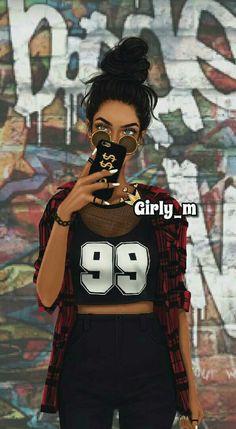 Best Friend Drawings, Tumblr Drawings, Girly Drawings, Pretty Drawings, Pop Art Girl, Black Girl Art, Black Women Art, Cute Girl Drawing, Cartoon Girl Drawing