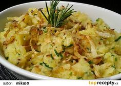 Šťouchané brambory s cibulkou a křupavým celerem recept - TopRecepty.cz Risotto, Potato Salad, Macaroni And Cheese, Cabbage, Potatoes, Healthy Recipes, Vegan, Dinner, Vegetables
