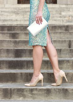 The Steele Maiden: Wedding season style with French Connection in a sequin dress and nude pumps