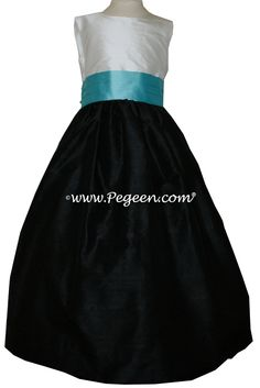 Flower girl dress in black, tiffany blue and antique white.  Pegeen style 398 in 200+ colors from infant to plus sizes.