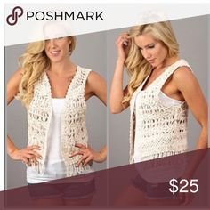 Crochet Vest Cream lace crochet vest. Perfect for summer and spring Jackets & Coats Vests