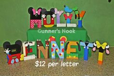 Mickey Mouse Clubhouse Character Letter Art by GunnersNook on Etsy, $12.00
