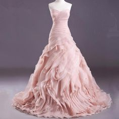 Cool Great Mermaid Pink Wedding Dresses Ruffles Organza Blush Ball Bridal Gown Custom Size 2018 Check more at http://24store.cf/fashion/great-mermaid-pink-wedding-dresses-ruffles-organza-blush-ball-bridal-gown-custom-size-2018/