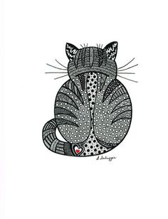 Zentangle Cat | eBay----would make a cute tattoo