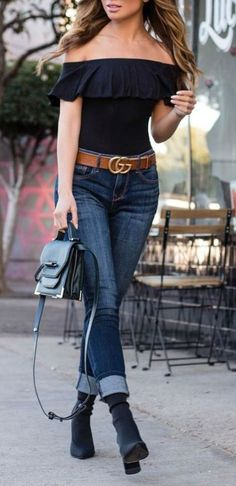 Casual Style Obsession Top Plus Bag Plus Skinny Jeans