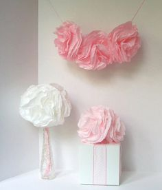 Garden Party Paper Flowers - 6 DIY Baby Shower, Bridal Shower, Birthday Party, Wedding Decorations - Large Pink Cottage Chic Blooms