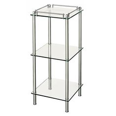 Gatco 1397 Premier Square 3-Tier Glass Taboret, Chrome by Gatco. Save 18 Off!. $206.95. From the Manufacturer                This Premier 3-Tier Glass Shelf Chrome can instantly give you the extra shelf space you crave. These square shelves can fit nearly into the corners of you bathroom or flat along the walls. Also the top shelf has a protective railing. The simplicity of the chrome finish and glass shelves allow these shelves to move in between design styles with ease.           ...
