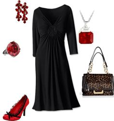 Classy & Sassy. Simple black dress with small pops of red.