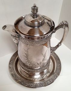 Simpson Hall Miller Silver Water Pitcher or Coffee Urn with TRAY by 4Good4Good, $249.00