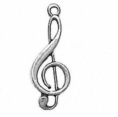 Jewel Tie 925 Sterling Silver Music Staff Pendant Charm 19mm x 22mm