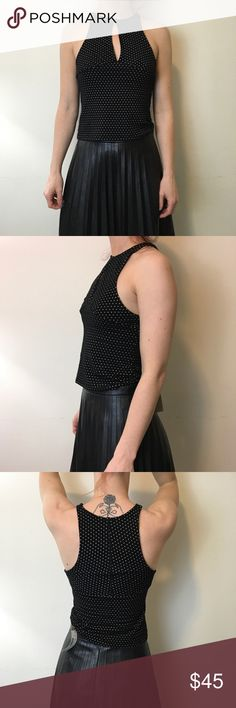 Free People Polka Dot Crop Top Free People Top cropped and has a key hole in the center! Stretchy and looks great with high waisted skirts! Free People Tops
