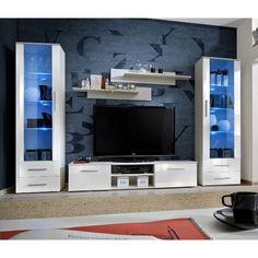 dcouvrez loffre paris prix ensemble meuble tv bibliothque galino iii white blanc noir pas cher sur cdiscount livraison rapide et economies - Meuble Tv Bibliotheque Noir