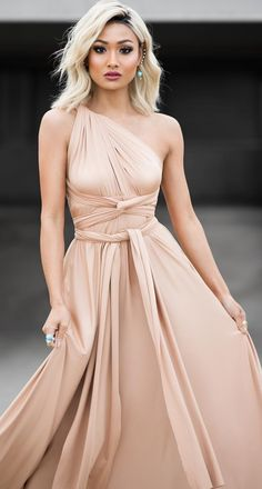 Beige wrap dress great for a wedding or formal occasion. So many ways to wear this one. You could even wear it as a maxi skirt.