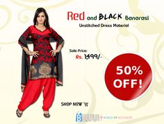 Get this Red and Black Banarasi Unstitched Dress Material  now at best price...  Product Name: Red and Black Banarasi Unstitched Dress Material Product Code:GLDA90U024 Product Price:Rs.1,499/- Buy at link:http://bit.ly/1MNkKjA
