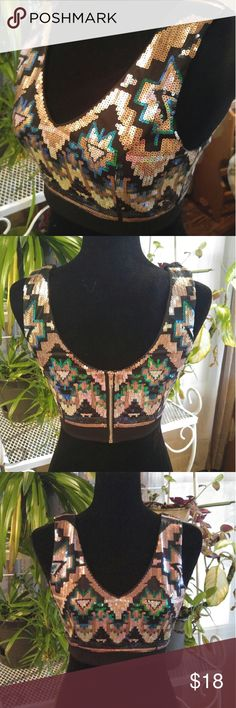 NWT Body Central Sequin crop top Perfect for a night out.  Body Central Sequin crop top Size small Zip back 100%polyester Approximate measurements  shoulder seam to hem 14 inches  measured seem to seem at armpit 15 inches T-4 Tops Crop Tops
