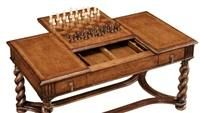 high end furniture game coffee table Chess and backgammon pieces included. Walnut