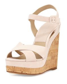 169cfb8aeeff Michael Kors Collection Cate Suede Wedge Sandal Nude Wedges