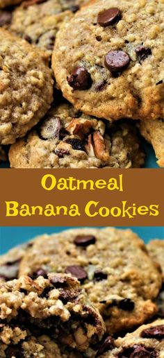 Oatmeal banana cookies are moist and delicious. They are soft and loaded with chocolate chips that melt in your mouth. Banana Oatmeal Recipe, Banana Oatmeal Chocolate Chip Cookies, Banana Cookie Recipe, Healthy Oatmeal Cookies, Chocolate Chips, Ripe Banana Recipes Healthy, Banana Dessert Recipes, Banana Recipes Diabetic, Recipe Using Ripe Bananas