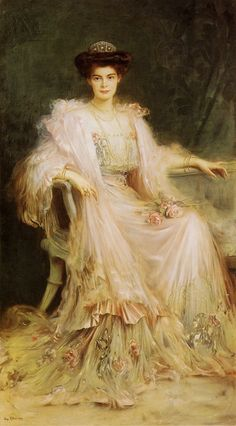 Crown Princess Cecilie of Prussia (1886 - 1954), painted in 1908 by Caspar Ritter (1861–1923).