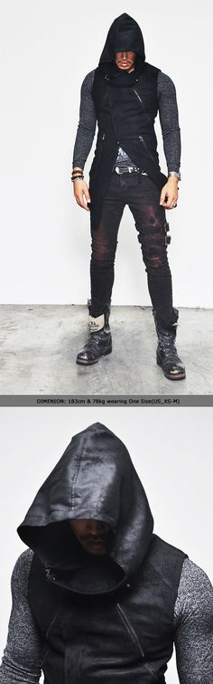 Outerwear :: Jackets :: Sharp Diagonal Cut Dark Edge Highneck Hood-Vest 67 - Mens Fashion Clothing For An Attractive Guy Look
