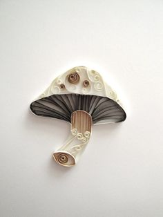 Quilled Paper Brown and White Mushroom Home by ThePaperyCraftery
