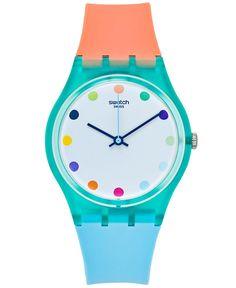 Swatch Women's Swiss Sport Mixer Orange & Blue Silicone Strap Watch 34mm GG219