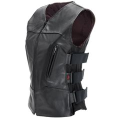Women's Black Leather Bulletproof Style Motorcycle Vest with Gun Pockets & Single Panel Back - Official Bikers' Den Gear