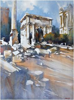 Arch of Septimius - Rome by Thomas W. Schaller Watercolor ~ 30 inches x 22 inches