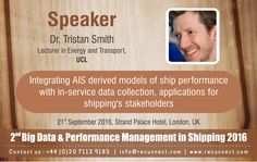 """#BigData - We are Delighted to announce and welcome our #Speaker """"Dr. Tristan Smith"""" joins the panel at RecunnectLtd's 2nd Big Data and Performance Management in Shipping 2016. Standard Registration now live £950+VAT (3 for the price of 2 - Book 2 delegates and get the third pass complementary) Book at http://www.recunnect.com/events/maritime-events/2nd-big-data-in-shipping-2016/registration/ now to save £50 with voucher code SAR001."""