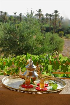 Mint tea overlooking the garden. Marrakech Gardens, Arabic Beauty, Fresh Mint Tea, Mint Garden, Style Marocain, Tea Culture, Peppermint Tea, Middle Eastern Recipes, High Tea