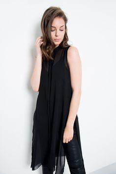 Kayla+/+Lange+transparente+Bluse