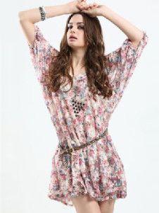 Lace Pink Floral Print Half Sleeve Sash Women's Dress