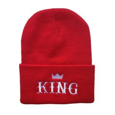 Europe and The United States Men and Women's Hip-Hop Crown KING Embroidery Knitted Wool Elastic Beanies Hat Ski Cap RX089