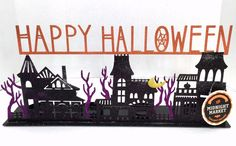 Happy Halloween Tea Light Holder Spooky Houses Midnight Market Glitter Black…