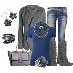 """Casual Weekend Blue and Gray"" by smores1165 on Polyvore"