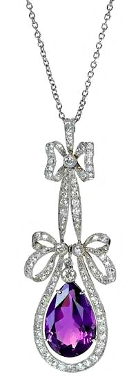 Large Amethyst, Platinum, and Diamond bow pendant. English, ca. 1920.