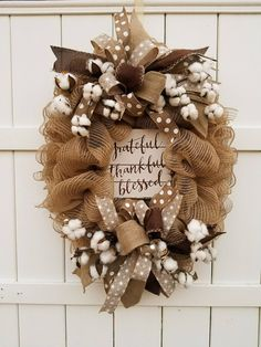 Burlap Mesh Wreath Cotton Wreath Grateful Thankful Blessed