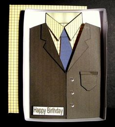 Tweed Jacket Shirt Tie Men s Birthday Father s Day Card  on Craftsuprint designed by Karen MacKellar - made by Dianne Jackson - I printed onto good quality smooth card. I cut scored and folded the box lid and base and made this up first. I then made up the jacket and shirt and added the pieces using sticky pads to make it 3D. This was so easy to do and looks great when in the box. This will be sure to wow the reciever because it is different and is a great novelty card in a box - Now…