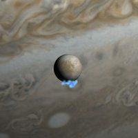 "Hubble Space Telescope observations show water vapor on Jupiter's moon Europa. If this is coming through surface cracks from Europa's subsurface ocean, it could have a lot of information on what's there. This is an artist's impression showing Europa with Jupiter in the background. (Image credit: NASA, ESA, and M. Kornmesser) Mona Evans, ""Jupiter's Galilean Moons"" http://www.bellaonline.com/articles/art42279.asp"
