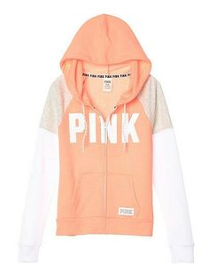 Victoria's Secret PINK Perfect Zip Hoodie Pullover Peach, white and sand sleeves small Vs Pink Outfit, Pink Outfits, Cute Outfits, Pink Love, Cute Pink, Victoria Secret Outfits, Victoria Secret Pink, Pink Wardrobe, Design T Shirt