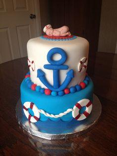 Nautical Baby Showr Cakes   Nautical Themed Baby Shower Cake