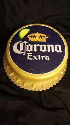 Beer cap cake Corona Cake, Corona Beer, Fondant Cakes, Cupcake Cakes, Crown Royal Cake, Liquor Cake, Alcohol Cake, Cap Cake, Cake Tower